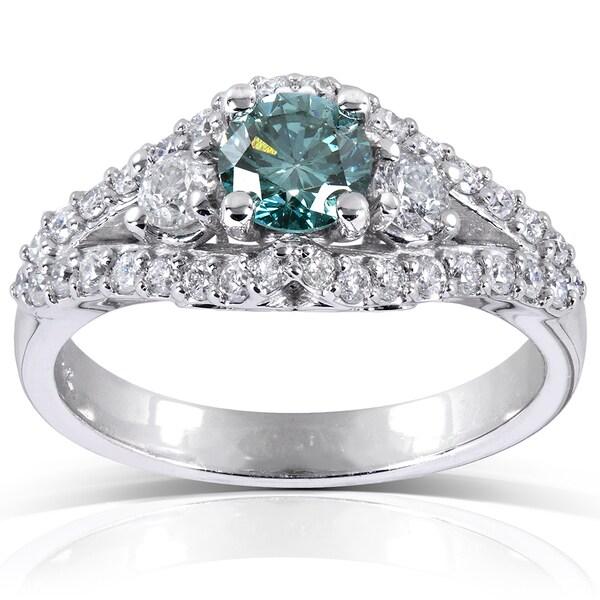 Annello by Kobelli 14k White Gold 1 1/4 ct TDW Fancy Blue and White Diamond Ring (VS1-VS2