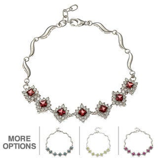 Oravo Sterling Silver Princess-cut Gemstone and Cubic Zirconia Bracelet
