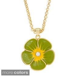 Kate Bissett 14k Gold Overlay Crystal and Enamel Floral Necklace