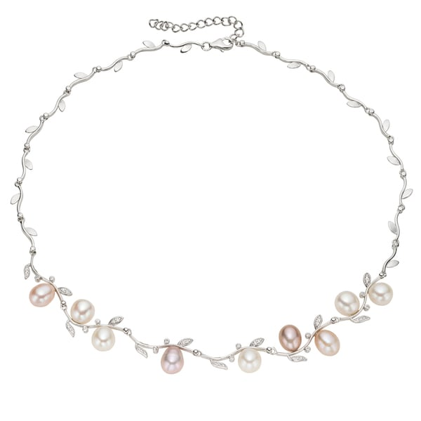 Pearlyta Sterling Silver Multi-colored Freshwater Pearl Leaf Necklace (9-10 mm)