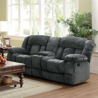 TRIBECCA HOME Mason Modern Gray Microfiber Double Glider Reclining Loveseat