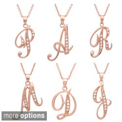 Sterling Essentials Rose Gold over Silver CZ Script Initial Necklace (More options available)