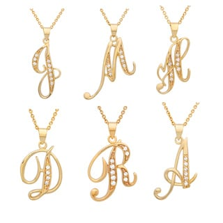 Link to Roberto Martinez Yellow Gold Plated Silver Script Initial Necklace Similar Items in Necklaces
