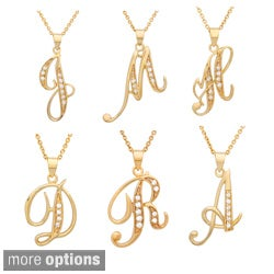 14k Goldplated Sterling Silver Cubic Zirconia Script Initial Necklace
