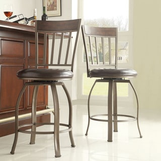 TRIBECCA HOME Keyaki Rustic Bronze Swivel Counter Height Stools ( Set of 2)