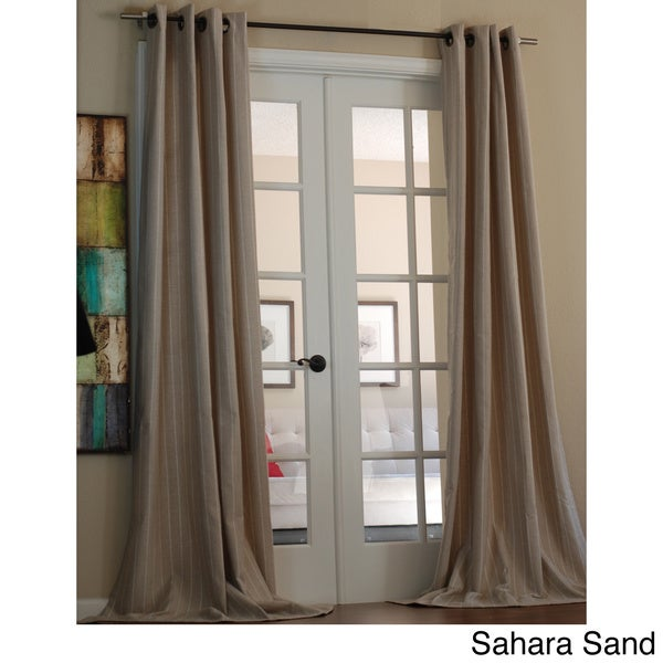 Lambrequin Pinstripe Linen Blend 96-inch Curtain Panel - 55 x 96. Opens flyout.