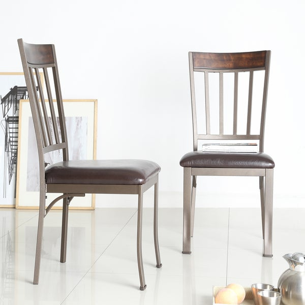 Keyaki Antique Bronze Finish Birch Accent Dining Chairs by TRIBECCA HOME (Set of 2)