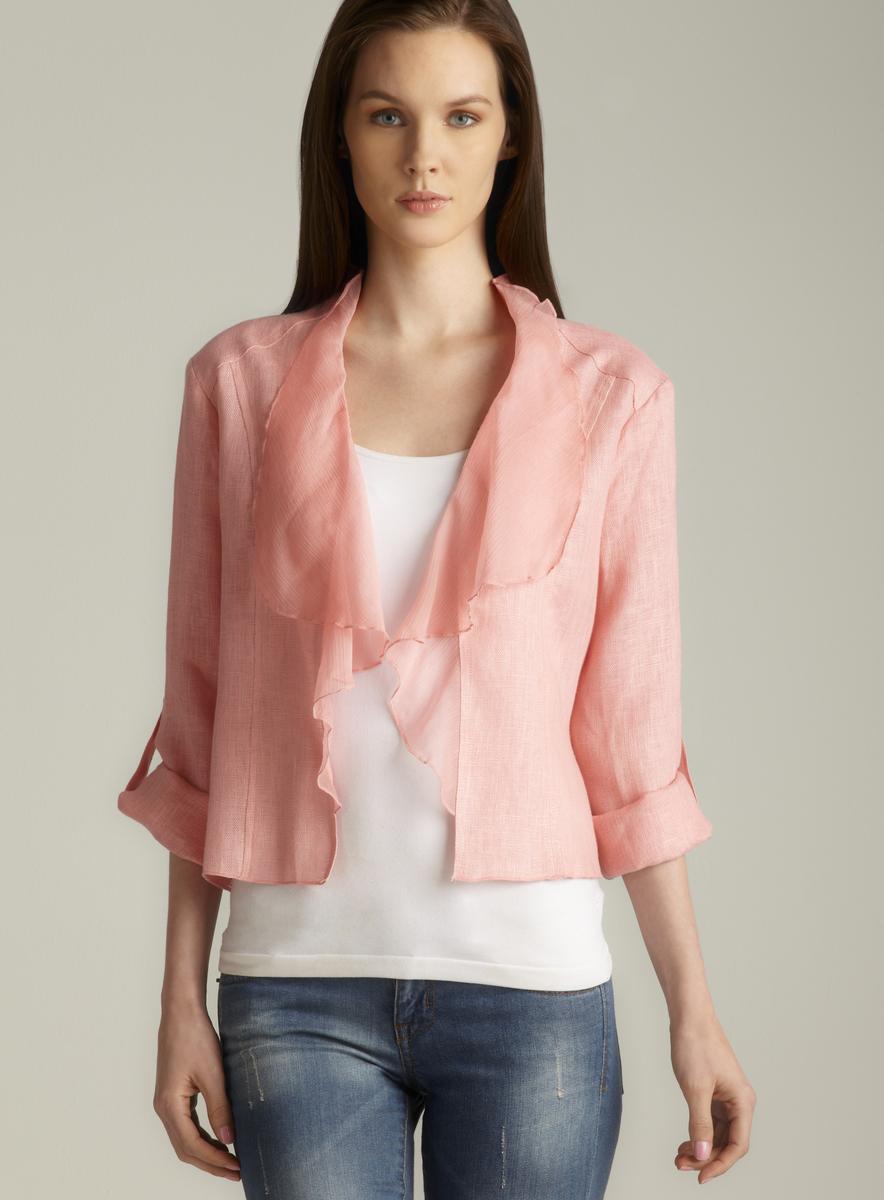 Insight Blush Tab Sleeve Draped Collar Linen Jacket