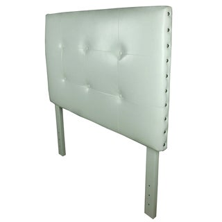 Classic White Faux Leather Tufted Nailhead Trim Twin-size Headboard