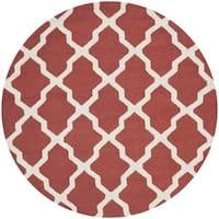 Safavieh Handmade Moroccan Cambridge Rust/ Ivory Wool Rug (6' Round)