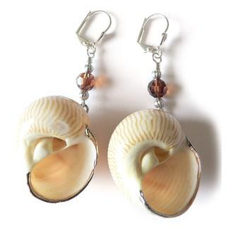 'Trudy' Moon Snail Shell Dangle Earrings
