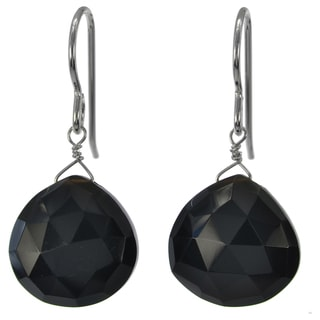 Ashanti Sterling Silver Black Onyx Faceted Briolette Dangle Earrings (Sri Lanka)