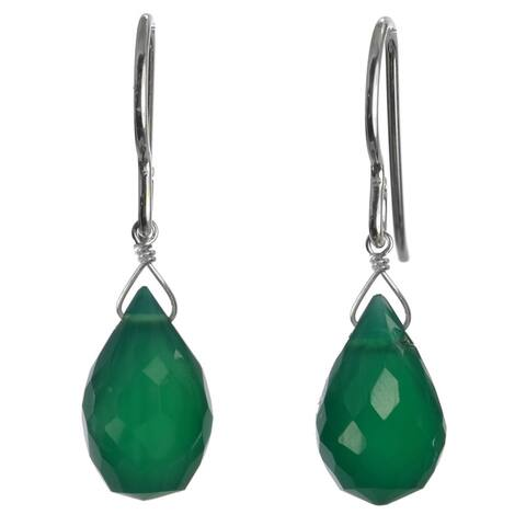 Emerald Green Natural Chalcedony Gemstone Silver Handmade Earrings