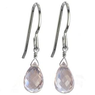 Ashanti Sterling Silver Rose Quartz Faceted Briolette Dangle Handmade Earrings (Sri Lanka)