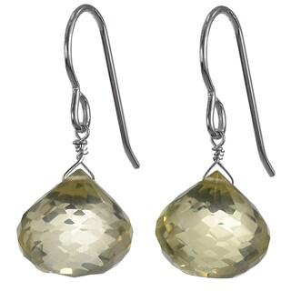 Ashanti Sterling Silver Tangy Lemon Quartz Faceted Briolette Dangle Handmade Earrings (Sri Lanka)