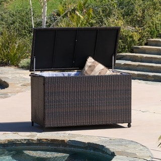 Outdoor Small Brown Wicker Cushion Box by Christopher Knight Home