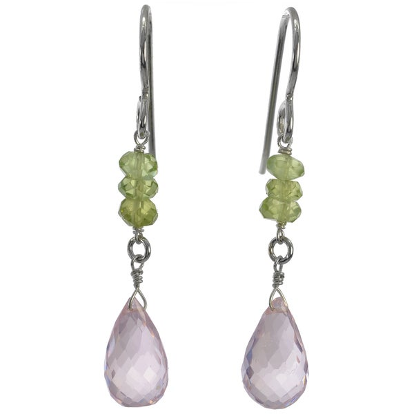 Silver Rose Quartz Briolette and Peridot Dangle Handmade Earrings. Opens flyout.