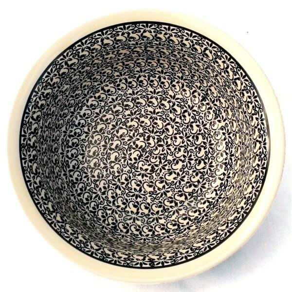 Black and White Floral Polished Stoneware Bowl (Poland)