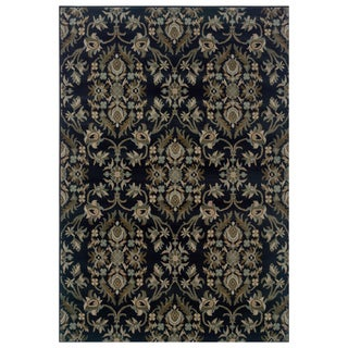 Floral Navy and Grey Rug (6'7 x 9'6)