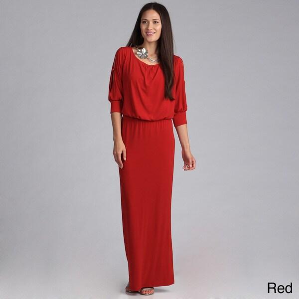 Tabeez Plus Size Open Sleeve Blouson Waist Dress