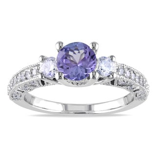 Miadora Signature Collection 14k White Gold 1/2ct TDW Diamond Violet Tanzanite Ring (G-H, I1-I2)