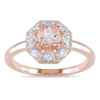 Miadora Rose Plated Silver Morganite 1/8ct TDW Diamond Ring (H-I, I2-I3)