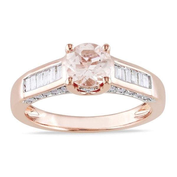 Miadora Signature Collection 14k Rose Gold 1/2ct TDW Diamond Morganite Ring