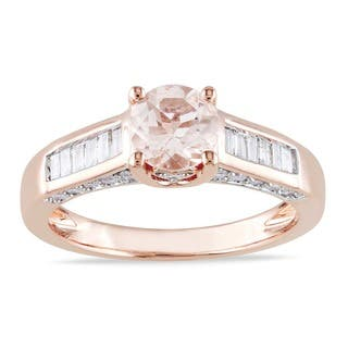 Miadora Signature Collection 14k Rose Gold 1/2ct TDW Diamond Morganite Ring|https://ak1.ostkcdn.com/images/products/8086929/P15439717.jpg?impolicy=medium