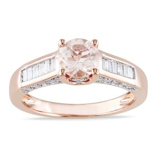 Miadora Signature Collection 14k Rose Gold 1/2ct TDW Diamond Morganite Ring