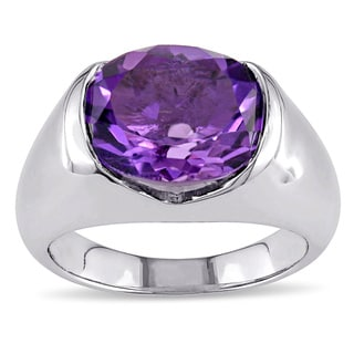 Miadora Sterling Silver 4ct Amethyst Cocktail Ring