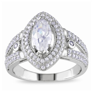 M by Miadora Sterling Silver Marquise-cut Cubic Zirconia Engagement Ring