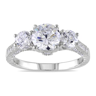 Miadora Sterling Silver Round-cut Cubic Zirconia Engagement Ring