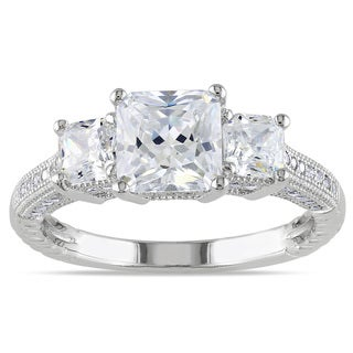 M by Miadora Sterling Silver White Round Cubic Zirconia Engagement Ring