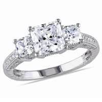 Miadora Sterling Silver White Round Cubic Zirconia Engagement Ring