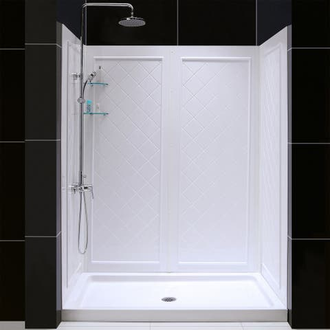 """DreamLine 36 in. D x 60 in. W x 76 3/4 in. H Single Threshold Shower Base and Acrylic Backwall Kit - 36"""" x 60"""" - 36"""" x 60"""""""
