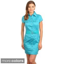 Stanzino Women's Short Sleeve Belted Shirt Dress