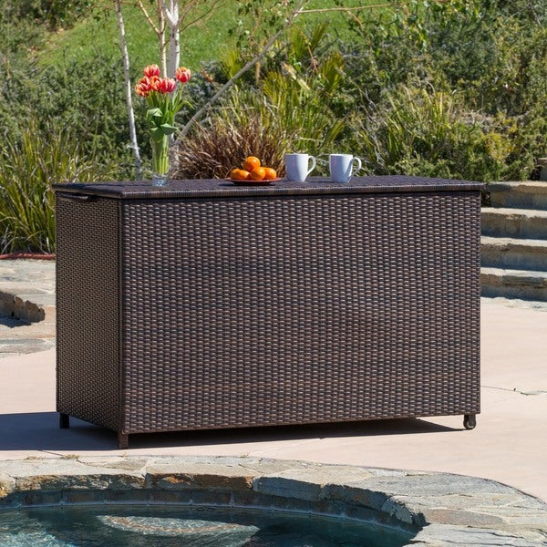 Pensacola Large Brown Wicker Cushion Box by Christopher Knight Home