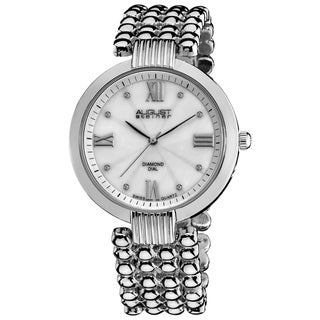 August Steiner Women's Swiss Quartz Diamond Dial Silver-Tone Bracelet Watch