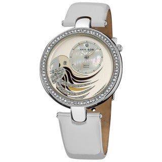 Akribos XXIV Women's Parrot Dial White Leather Strap Watch