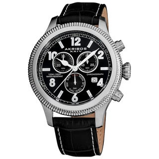 Akribos XXIV Men's Multifunction Chronograph Leather-Strap Watch with Black Dial with FREE GIFT - Silver