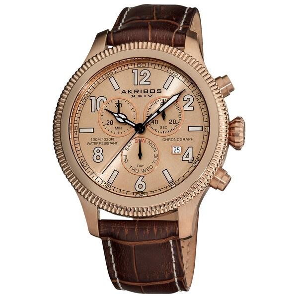 Akribos XXIV Men's Multifunction Chronograph Leather Brown Strap Watch - White
