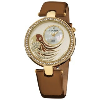 Akribos XXIV Ladies Parrot Dial Leather Brown Strap Watch with FREE Bangle - WHITE