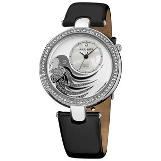 Akribos XXIV Women's Parrot Dial Black Leather Strap Watch