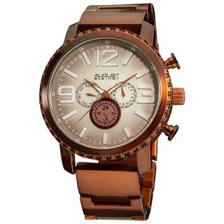 August Steiner Men's Multifunction Water-Resistant Gradient-Dial Brown Bracelet Watch