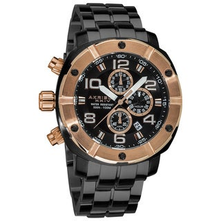 Akribos XXIV Men's Chronograph Divers Stainless Steel Rose-Tone Bracelet Watch
