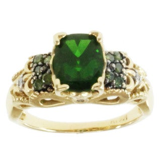 Michael Valitutti 14k Yellow Gold Chrome Diopside and Diamond Ring