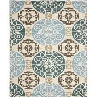 Safavieh Hand-made Wyndham Beige/ Blue Wool Rug (10' x 14')