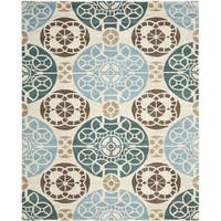 Safavieh Hand-made Wyndham Beige/ Blue Wool Rug - 10' x 14'