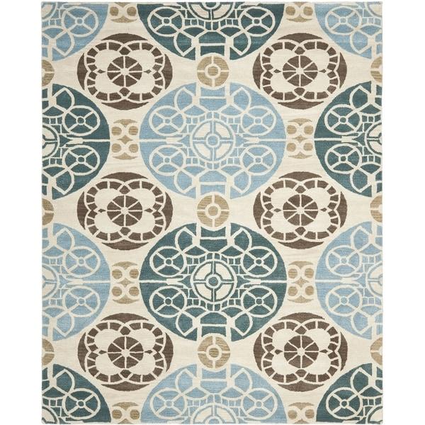 Safavieh Handmade Wyndham Beige/ Blue Wool Rug - 10' x 14'