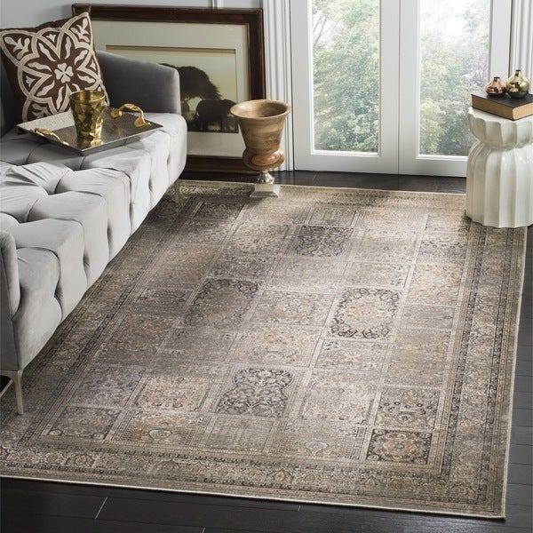 Safavieh Vintage Mouse Brown Distressed Panels Silky Viscose Rug (8'10 x 12'2)